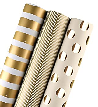 WRAPAHOLIC Wrapping Paper Roll - Gold Print for Birthday Holiday Wedding Baby Shower Packing - 3 Rolls - 30 inch X 120 inch Per Roll