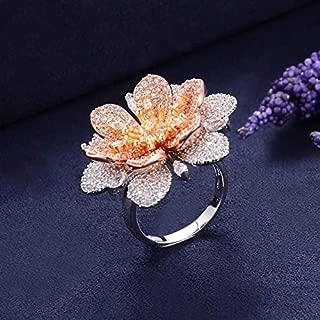 8Ninegift Luxury Flowers Cubic Zironia Engagement Dubai Nigerian Bridal Statement Finger Rings for Women Wedding Trendy Jewelry (8)