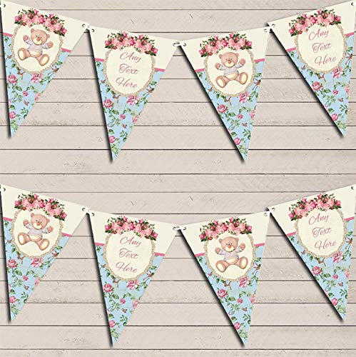 Teddy Bear Shabby Chic Floral Pink Girls Children's Party Personalised Bunting Decoration Banner Garland