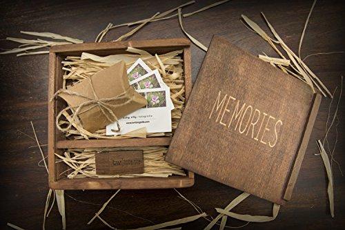 LION Handgemachte Vintage Holzkiste/Fotokiste aus braunem Holz. Ideal für Hochzeiten & Fotografen, als Geschenkebox. In 18x18x4,5cm