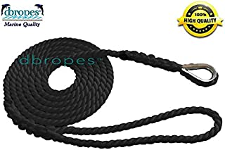 dbRopes 3 Strand Mooring Pendant Line 100% Nylon Rope with Stainless Steel Thimble. Made in USA