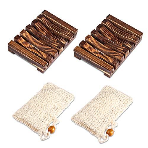 PAMIYO 2 STK Seifenschale Holz Dusche 2 STK Seifensäckchen,Natürliche Seifenkiste Bio Seifensack mit Kordel für Bad Waschbecken