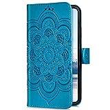 Uposao Kompatibel mit Samsung Galaxy A9 2018 Handyhülle Mandala Blumen Muster Handy Schutzhülle Ledertasche Flip Hülle Handytasche Wallet Hülle Bookstyle Klappbar Lederhülle Magnetisch,Blau