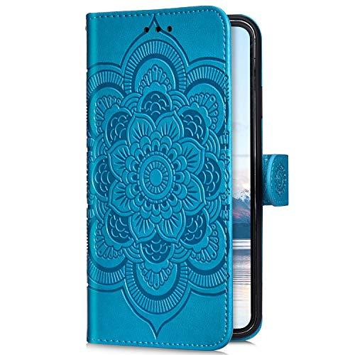 Uposao Kompatibel mit Samsung Galaxy A6 2018 Handyhülle Mandala Blumen Muster Handy Schutzhülle Ledertasche Flip Case Handytasche Wallet Hülle Bookstyle Klappbar Lederhülle Magnetisch,Blau
