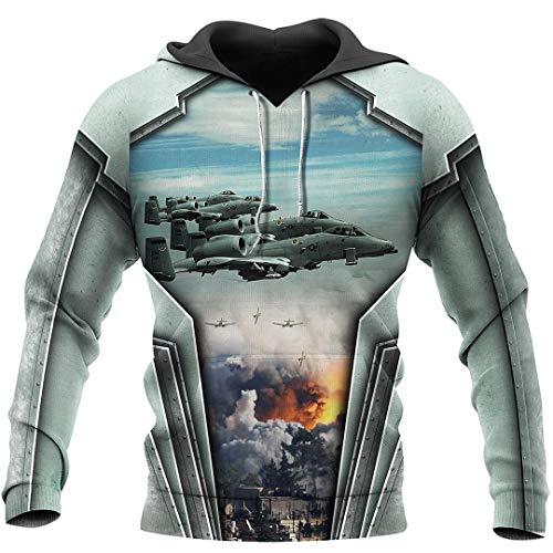 NDLENG Air Force Aircraft A10 Thunderbolt II 3D All Over Printed Shirt Men and Women Fashion Casual Hoodies Beige 3XL