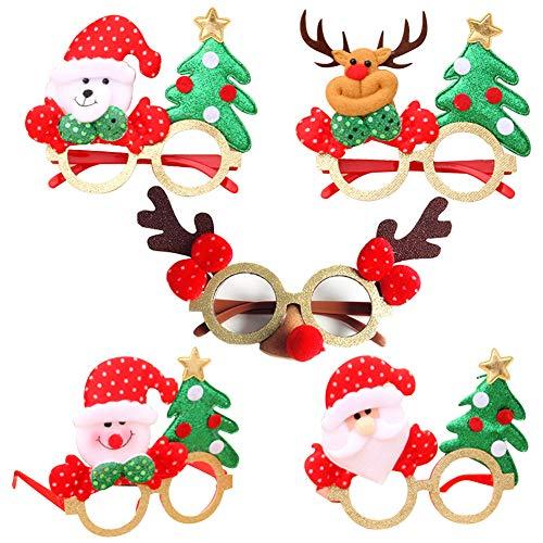 Gafas de Navidad 5 Gafas de fiesta con purpurina navideña Novedad Gafas divertidas creativas, Gafas de disfraces de decoración navideña para niños y adultos Decoraciones de feliz año nuevo Favores
