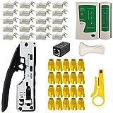 Lubein CAT7/RJ45/RJ11 Herramientas Kit de red profesionales, crimpadora cables Ethernet, mantenimiento del ordenador, kit LAN, comprobador del cable 97 en 1, herramientas de reparación (blanco)