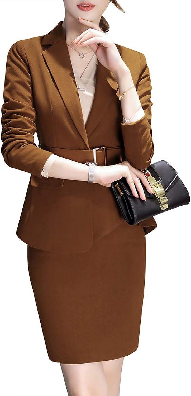 LISUEYNE Women Two Pieces Blazer Suit Slim Fit Business Office Lady Blazer Jacket and Pant Skirt
