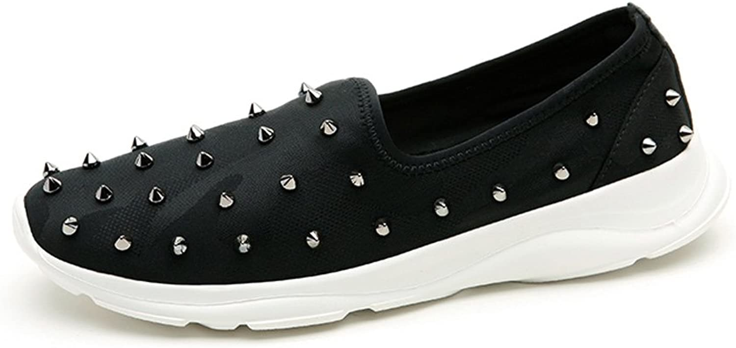 LIUXUEPING Summer The New Rivet Flat Movement White shoes Set Foot Comfortable Casual Women's shoes (color   Black, Size   39)
