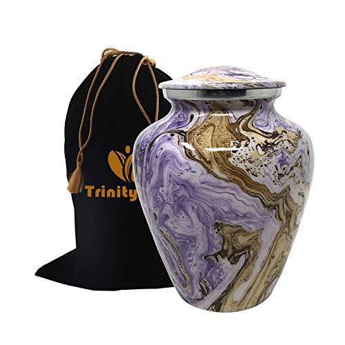 Ocean Tides Cremation Urn - Elite Waves Urn - Beautifully Handcrafted Adult Funeral Urn - 100% Solid Metal Urn - Affordable Urn for Human Ashes with Free Velvet Bag (Purple Sandy)