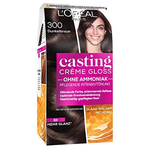L'Oréal Paris Coloration ohne Ammoniak und ohne Silikone, Pflegende Intensivtönung mit Glanz-Reflex-Balsam, Casting Crème Gloss Haarfarbe, Nr. 300 Dunkelbraun (Braun), 1 Stück