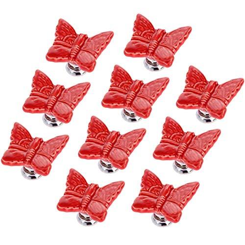 10 piezas de estilo europeo con forma de mariposa, perillas, armario, decoración para muebles para niñas y bebés, rojo