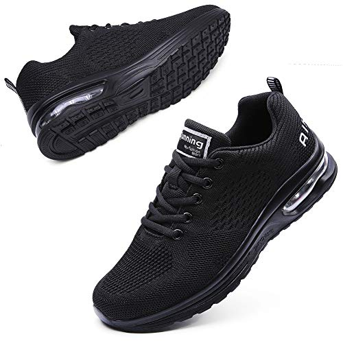 Maichal Womens Running Shoes Tennis Sneakers Air Cushion Lightweight Breathable Gym Athletic Sports All Black 8.5