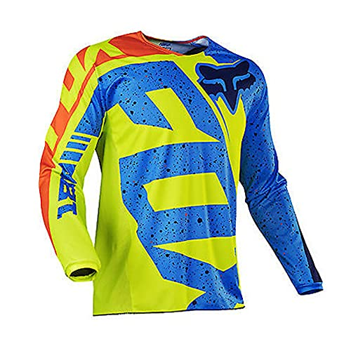 Whittie Fox Camiseta de Ciclismo para Hombre, Ropa Deportiva para Bicicleta, Camisetas de Manga Larga para MTB, Camiseta de Motocross, Sudadera para Bicicleta de Montaña,B,XS