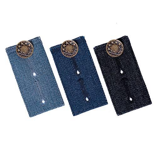 Johnson & Smith Bundverlängerung für Hosen, 3 Stück, verschiedene Farbtöne, Polyester- und Baumwollmischgewebe, Premium-Metallknöpfe, Knop-Verlängerung für Jeans Standard denim