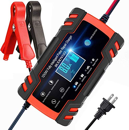 BUDDYGO Car Battery Charger, 8Amp Fully-Automatic Smart Charger, 12V/24V Automotive Battery Charger, Battery Maintainer with LCD Screen for Automotive and Motorcycle Batteries