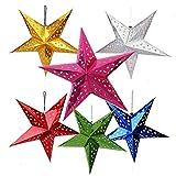 Auony Paper Star - Pantalla para lámpara de estrella, 6 unidades, papel 3D, diseño de estrella, pentagrama, para Navidad, boda, fiesta, decoración para el hogar