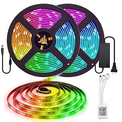 Elfeland LED Strip Lights 32.8FT/10M 300LEDs SMD5050 RGB Light Strip IP65 Color Changing Rope Lights Tape Lights 44Keys Remote Controller Flexible Strips for TV Room Kitchen Party Decoration