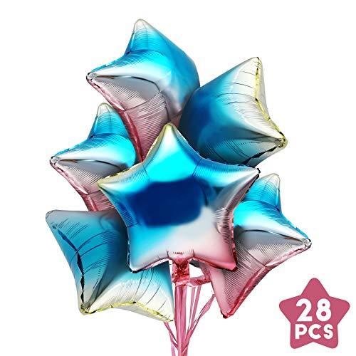 iZoeL Folienballons Sterne Sternballon 28 Stücke 45cm Luftballon Folie Geburtstag Hochzeit Deko unterstürtzt Helium