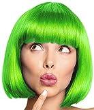 BALINCO Sexy Parrucca Bob | Capelli al Paggetto | Cabaret | Parrucche Charleston per Carnevale & Feste a Tema - 13 Colori (Verde)