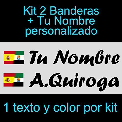 Vinilin - Pegatina Vinilo Bandera España/Extremadura + tu Nombre - Bici, Casco, Pala De Padel, Monopatin, Coche, etc. Kit de Dos Vinilos (Negro)