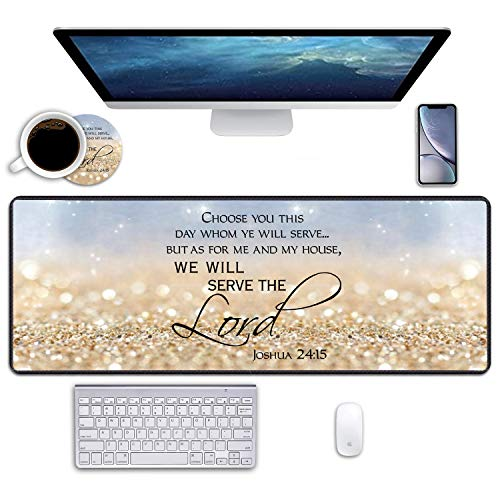 """BWOOLL Desk Pad Mat Gaming Mouse Pads with Coasters, 31.5"""" ×11.8"""" Large XXL Non-Slip Rubber Base Mousepad with Stitched Edges for Office & Home (Rainbow Glitter Christian Bible Verses Joshua 24:15)"""
