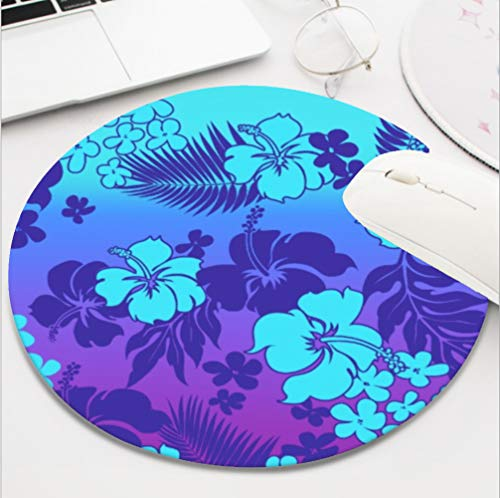 Ydset kona Blend Hawaiian Hibiscus Aloha Shirt Print Custom Mouse Pad Waterproof Material Non-Slip Rubber Round Mouse Pad(7.8x7.8x0.08inch) for Office Desktop or Gaming Mouse Mat Keyboard Pad