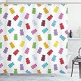 Süßigkeiten Duschvorhang Gummibärchen Kinder Süßigkeiten leckeres Gelee Spielzimmer Kinder Baby Kinderzimmer Thema Bild Stoff Stoff Bad Dekor Dekor mit Haken Pastell