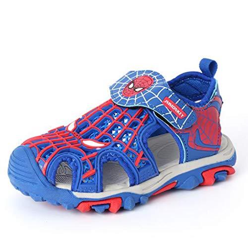 WQLESO Spider-Man Sandalen Kinder Sommer Outdoor Jungen und Mädchen geschlossene Zehe Leichte atmungsaktive Trekking-Strand-Schuhe,Blue A-26