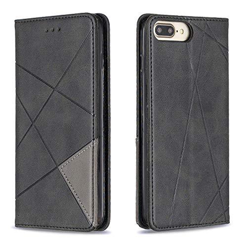 Hülle für iPhone 8 Plus/7 Plus Hülle Handyhülle [Standfunktion] [Kartenfach] [Magnetverschluss] Tasche Etui Schutzhülle lederhülle klapphülle für Apple iPhone 8Plus/7Plus - DEBFE010023 Schwarz