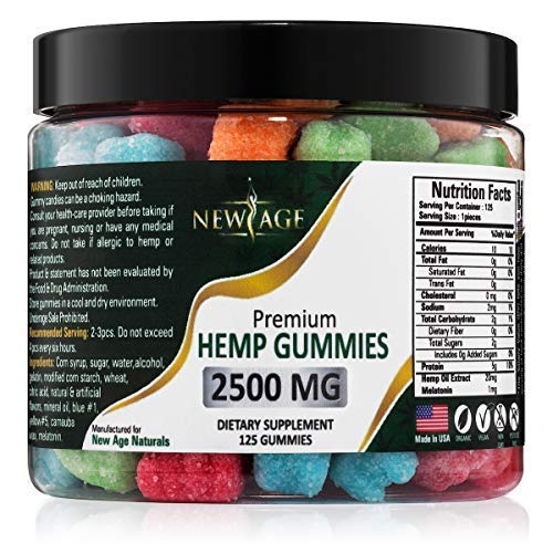 Here at New Age we truly care about you and your health. That's why we use only the best ingredients for the absolute best taste and quality because that's what you deserve. Our organic and natural hemp gummies are made in the USA and infused with th...