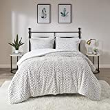 Madison Park Adelyn Ultra Soft Plush Faux Fur Chevron 3 Pieces Bedding Sets Bedroom Comforters, Full/Queen, Ivory