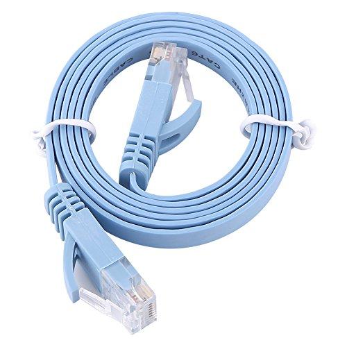 Cables De Enrutador De Parche UTP De Cable LAN Plano De Red Ethernet RJ45 CAT6 1000M - Azul 1 Metro