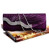 Bolsos Mujer Bolso De Noche De Cristal Plisado Satinado De Moda Bolso De Embrague De Fiesta Nupcial De Boda Púrpura