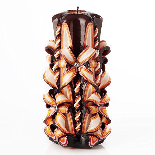 IK Style Große handgeschnitzt Geruchlose Kerze–Perfekt Home Decor Oder Geschenk Kerze für Viele Anlässe–Atemberaubende Creme Farbe mit Dekore 3