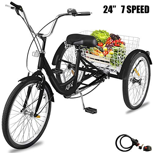 Happybuy Adult Tricycle 7 Speed Three Wheel Bike Cruise Bike 24inch Adjustable Trike with Bell Brake System and Basket Large Size for Shopping (24inch Black 7 Speed)