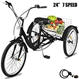 🌈SIZE INFO---24 inch 3 wheel tricycle black 7 speed,Weight capacity of 300 lbs ,rider and cargo combined. The 3-wheeled bike is made of high quality iron.Alloy rims with stainless-steel spokes and smooth-riding tires, upright handlebars and comfortab...