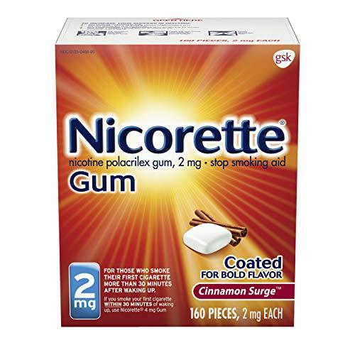 Nicorette Nicotine Gum in Surge Flavored Stop Smoking Aid, Cinnamon, 160 Count
