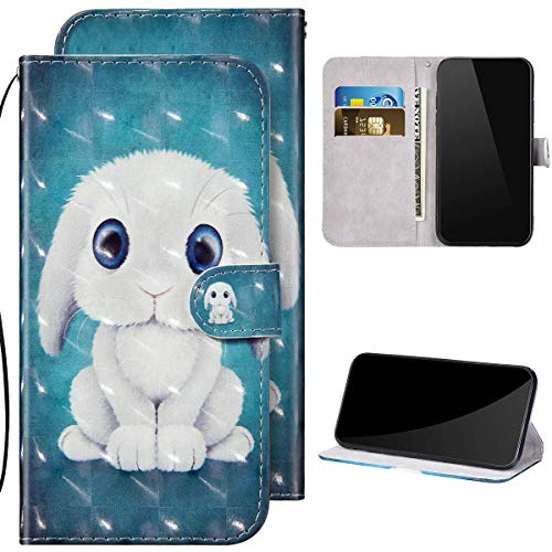 Kompatibel mit Samsung Galaxy A21S Hülle Ledertasche Brieftasche Schutzhülle Flip Case,3D Glitzer Glänzend Bunt Bemalt Muster PU Leder Klapphülle Tasche Handyhülle für Galaxy A21S,Hase