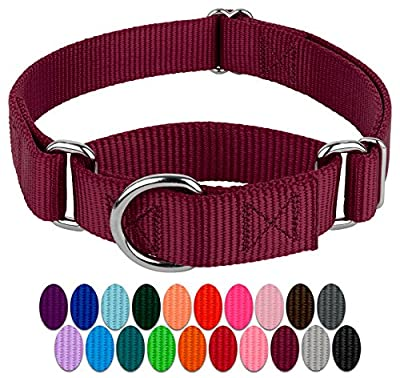 Country Brook Design - Martingale Heavyduty Nylon Dog Collar - Burgundy - Medium