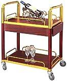Estantería de vino Carretones de carga del estante estante de herramientas Cesta Té Vino carro de postres de coches Hotel Mobile servicio de carrito de la carretilla del cochecito de tarjetas publicit
