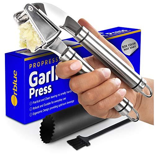 ORBLUE presse-ail en acier inoxydable avec un outil pour éplucher