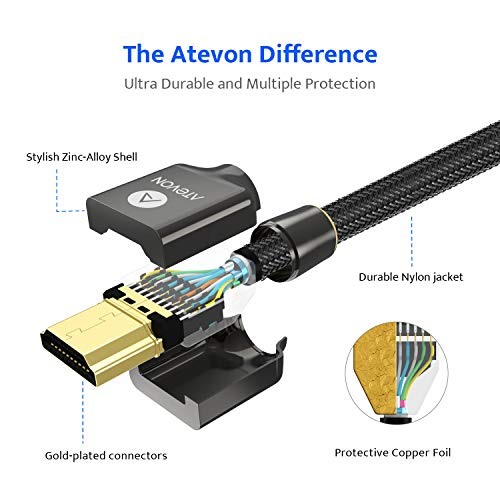 4K HDMI Cable 6 ft – Atevon High Speed 18Gbps HDMI 2.0 Cable – 4K HDR, 3D, 2160P, 1080P, Ethernet – 28AWG Braided HDMI Cord – Audio Return(ARC) Compatible with UHD TV, Blu-ray, PS4/3, PC, Fire TV