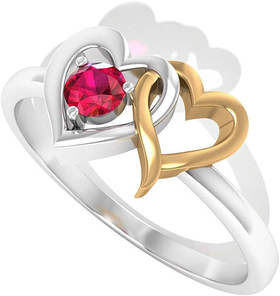 Solitaire SGL Certified Ruby Double Heart Anniversary Ring, Vintage Red July Birthstone Mix Metal Love Ring, Bridal Wedding Promise Matching Ring Sets, 14K Yellow Gold, Size:US 10.0