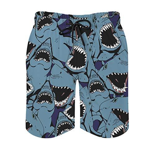 Ktewqmp Bañador de verano con diseño de tiburón enfadado, para hombre, con bolsillos, Blanco, L