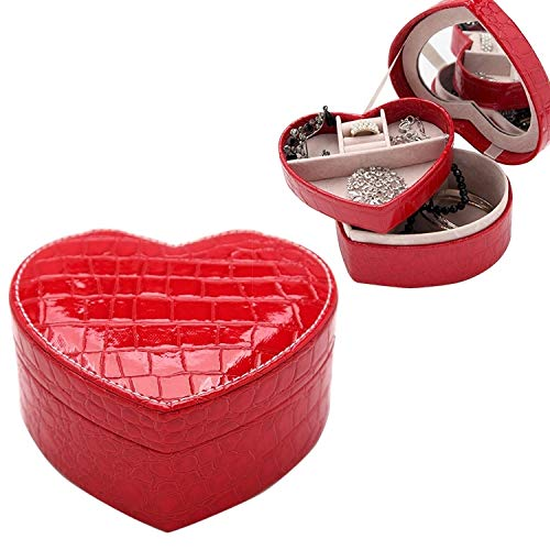 Family Needs Twee-layer Heart Shape kleine sieraden doosje Semisynthetisch Leather ringen en oorbellen Mirrored Reizen Storage Case (Color : Red)