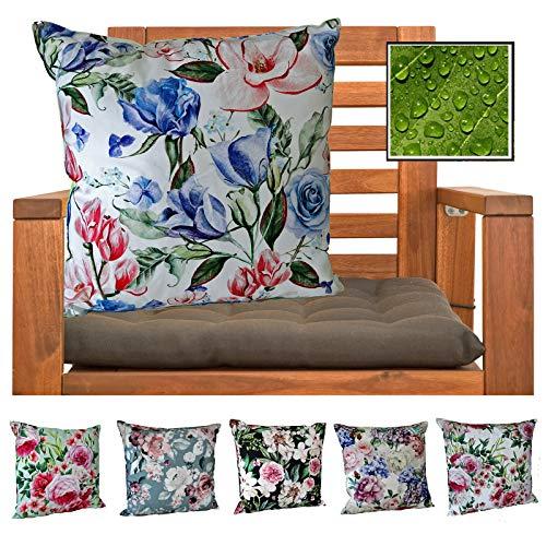 heimtexland ® Outdoorkissen Dekokissen Schmutz- und Wasserabweisend Landhaus Garten Outdoor Kissen Blumen Blau Grün Typ675