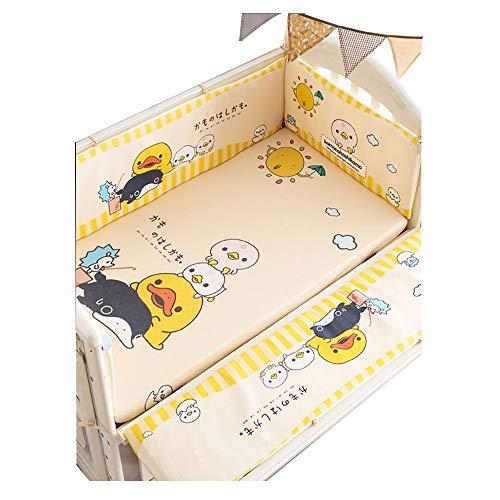 Pare-chocs pour lit de bébé, kit amovible Literie pour bébé Literie en coton multicouches anti-collision jaune, 130 * 70, Costume en cinq pièces