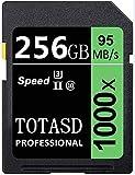 Tarjeta de memoria SD de 256 GB SDXC, tarjeta de memoria SD, tarjeta SD UHS-II, memoria U3, velocidad de hasta 95 MB/s para cámara DSLR, cámara HD HD (256 GB)
