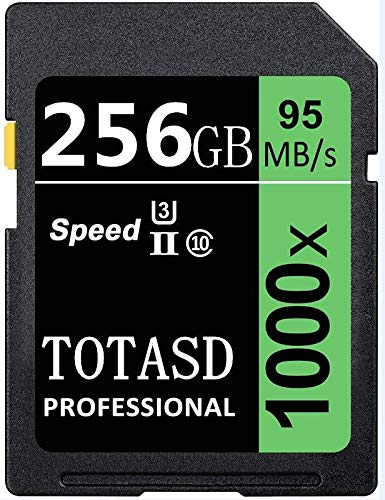 Speicherkarte, SD Card TOTASD 256 GB SDXC SD Card UHS-II Memory Card, U3 Geschwindigkeit bis zu 95 MB/s für DSLR-Kamera, HD Camcorder, Gold 3D Kamera (256 GB)